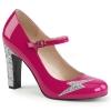 QUEEN-02 Hot Pink Patent/Silver Glitter